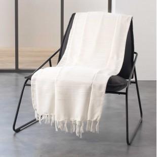 Krémová bavlnená deka so strapčekmi
