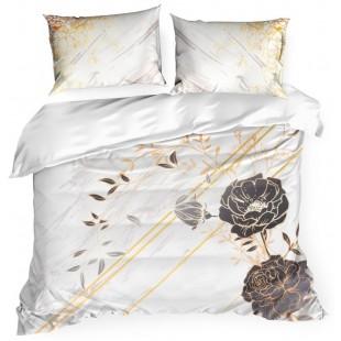 Biela exkluzívna posteľná obliečka zo saténovej bavlny s rastlinným motívom