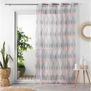 Sivo-ružová vzorovaná záclona so zavesením na kruhy