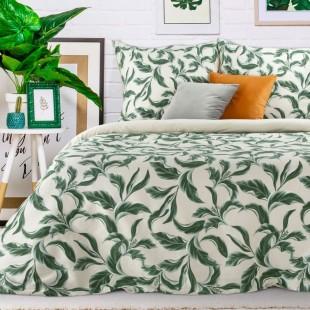 Béžovo-zelená posteľná obliečka zo saténovej bavlny s rastlinným motívom