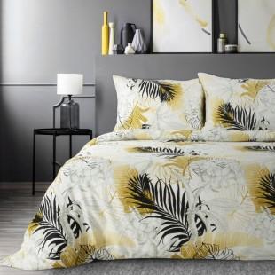 Bielo-sivá posteľná obliečka zo saténovej bavlny s rastlinným motívom