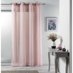 Ružová jemná záclona na kruhy s mašličkami
