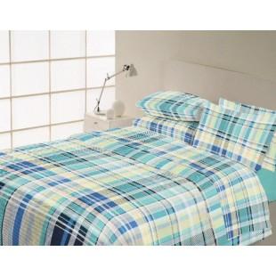 Modrá károvaná posteľná obliečka z bavlny