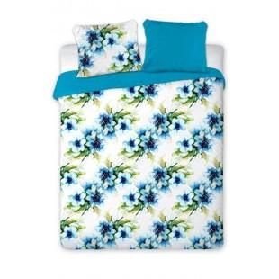 Bielo-modrá posteľná obliečka s motívom kvetov