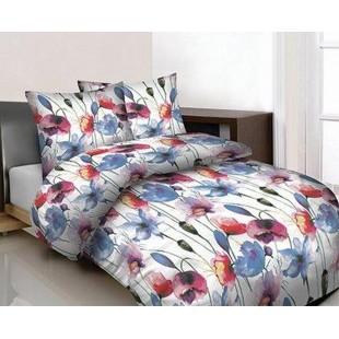 Biela kvetovaná posteľná obliečka z bavlny