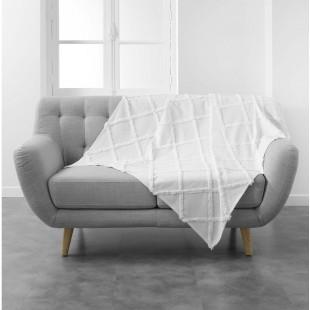 Biela bavlnená deka s jemným zdobením