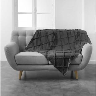 Tmavosivá bavlnená deka s jemným zdobením