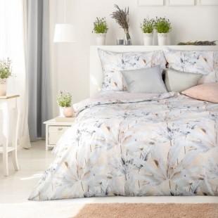 Béžovo-sivá  bavlnená posteľná obliečka s rastlinným motívom