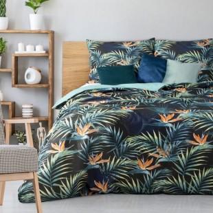 Čierno-zelená bavlnená posteľná obliečka s vetvičkami