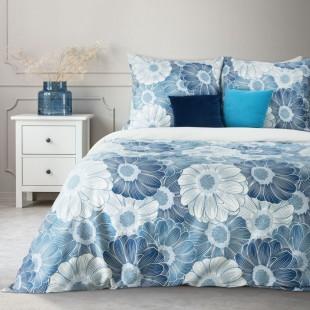 Bielo-modrá bavlnená posteľná obliečka s kvetmi