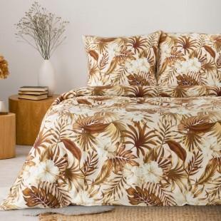 Hnedo-béžová bavlnená posteľná obliečka s rastlinným motívom