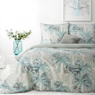 Bielo-modrá bavlnená posteľná obliečka s rastlinným motívom