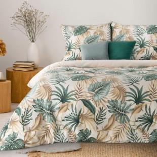 Krémovo-zelená bavlnená posteľná obliečka s rastlinným motívom