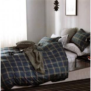 Obojstranná tmavomodrá bavlnená posteľná obliečka s károvaným vzorom