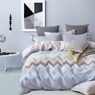 Sivo-modrá posteľná obliečka s cik-cak vzorom z bavlneného saténu
