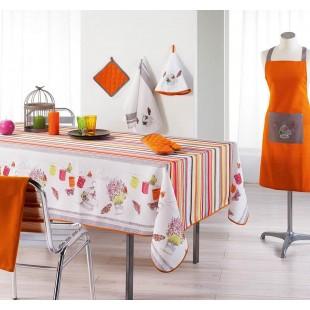 Biely obrus na stôl s farebnými motívmi