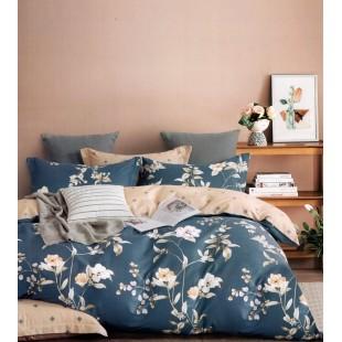 Modro-béžová posteľná obliečka z bavlneného saténu s kvetmi