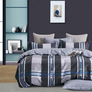 Sivo-modrá posteľná obliečka z bavlneného saténu