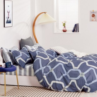 Modrá posteľná obliečka z bavlneného saténu s geometrickým vzorom