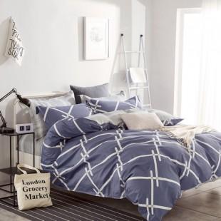 Modro-sivá posteľná obliečka z bavlneného saténu