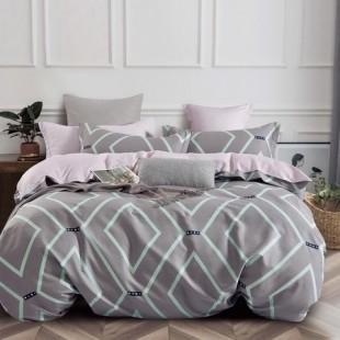Sivo-ružová posteľná obliečka z bavlneného saténu s tyrkysovým geometrickým vzorom