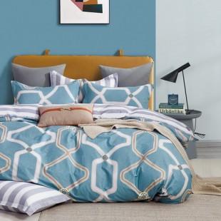 Sivo-modrá posteľná obliečka z bavlneného saténu s geometrickým vzorom