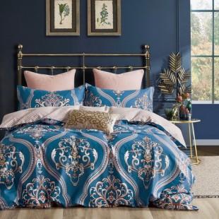 Modro-béžová posteľná obliečka z bavlneného saténu zdobená krásnym motívom