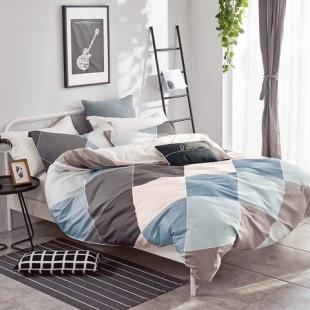 Modro-sivá posteľná obliečka z bavlneného saténu s geometrickým vzorom