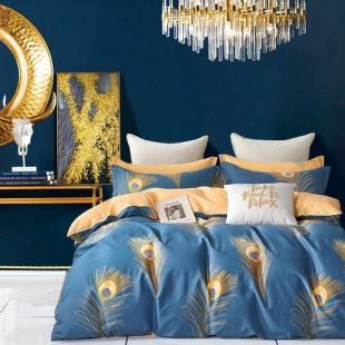 Marhuľovo-modrá posteľná obliečka z bavlneného saténu