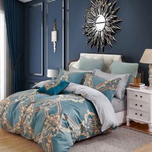 Tyrkysovo-sivá posteľná obliečka z bavlneného saténu s krásnym vzorom
