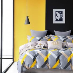 Sivá posteľná obliečka z bavlneného saténu s geometrickým vzorom