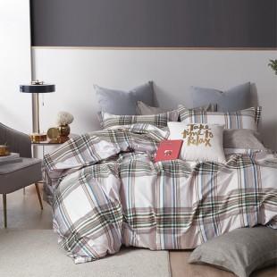 Sivo-béžová posteľná obliečka z bavlneného saténu s geometrickým vzorom