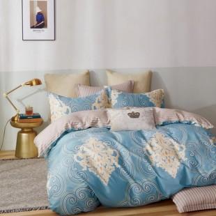 Modro-žltá posteľná obliečka z bavlneného saténu s krásnym vzorom