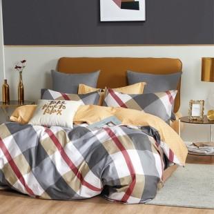 Béžovo-sivá posteľná obliečka z bavlneného saténu s geometrickým vzorom