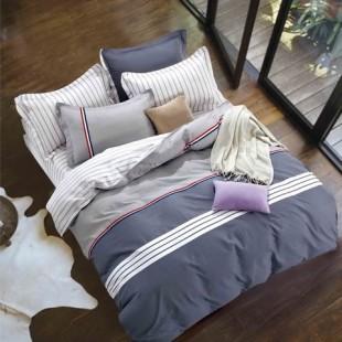 Sivo-biela posteľná obliečka z bavlneného saténu s geometrickým vzorom