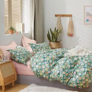Mätovo-ružová posteľná obliečka z bavlneného saténu s kvietočkami