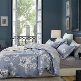 Sivo-grafitová posteľná obliečka z bavlneného saténu s kvetmi