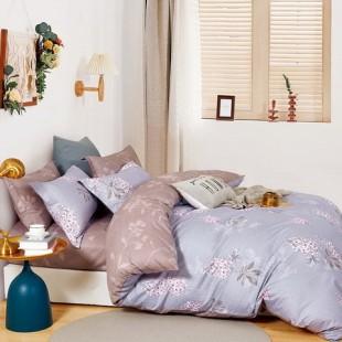 Sivo-ružová posteľná obliečka z bavlneného saténu s rastlinným motívom