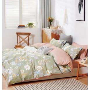 Olivovo-béžová posteľná obliečka z bavlneného saténu s rastlinným motívom