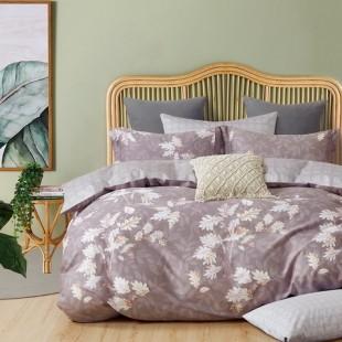 Sivo-béžová posteľná obliečka z bavlneného saténu s rastlinným motívom