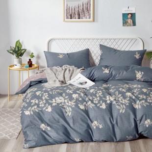 Grafitovo-modrá posteľná obliečka z bavlneného saténu s rastlinným motívom