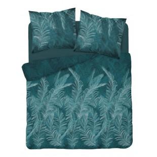 Tyrkysová posteľná obliečka z bavlneného saténu s rastlinným motívom