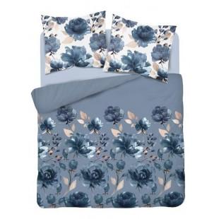 Modrá posteľná obliečka z bavlneného saténu s kvetinovým vzorom