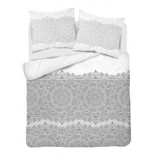 Sivo-biela posteľná obliečka z bavlneného saténu so vzorom