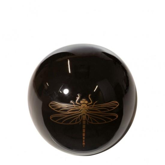 Čierno-zlatá dekoračná guľa s vážkou