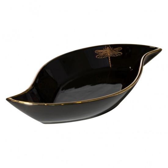 Čierno-zlatá tácka s motívom vážky