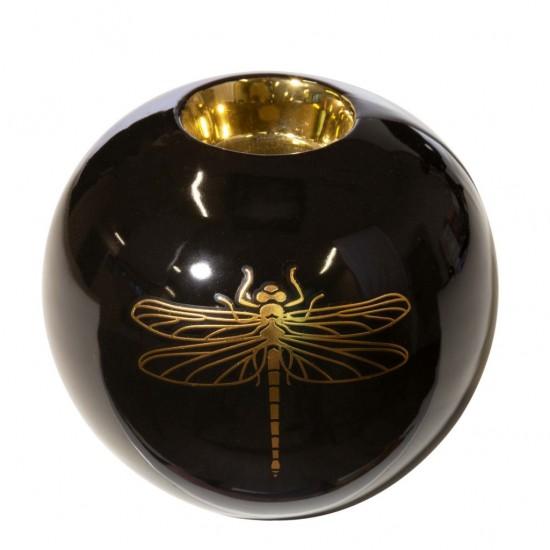 Čierno-zlatý dekoračný svietnik s vážkou