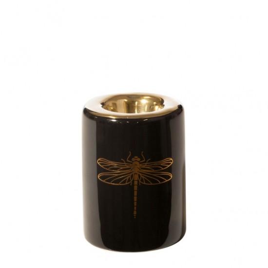 Čierno-zlatý svietnik s motívom vážky