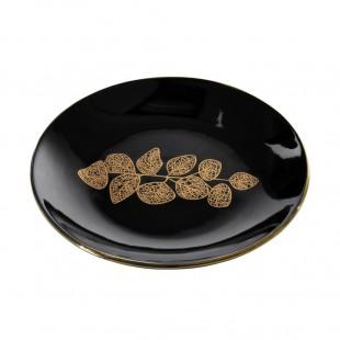 Čierno-zlatá dekoračná tácka s rastlinným motívom