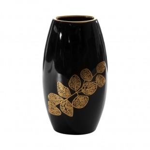 Čierno-zlatá váza s rastlinným motívom